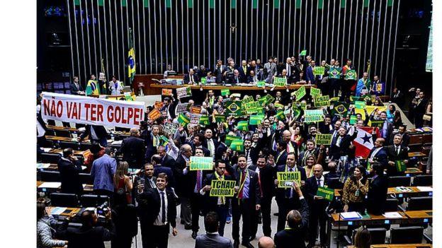Câmara durante votação do impeachment, em 2016