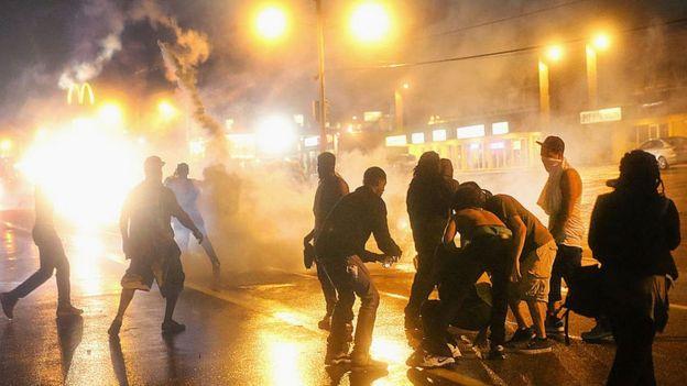 Street clash involving protestors in Ferguson
