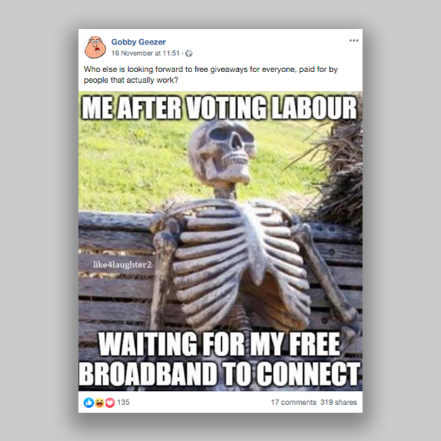 """A post showing a skeleton with the caption """"Me after voting Labour, waiting for my free broadband to connect."""""""