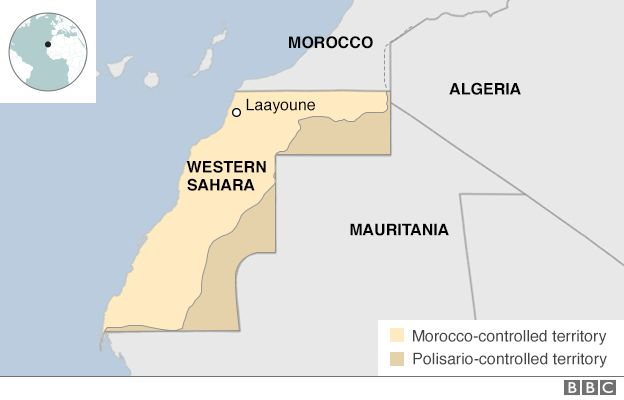 Map showing the Western Sahara region