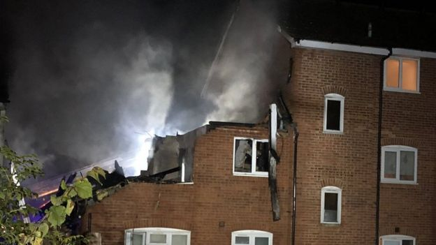 The collapsed roof of the flat