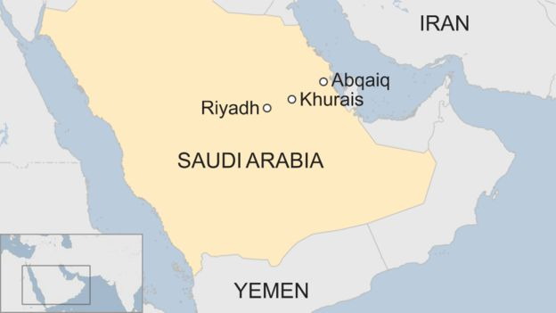 Saudi Arabia oil facilities ablaze after drone strikes - BBC ... on uae map, libya map, palestine map, kenya map, south america map, egypt map, israel map, africa map, iraq map, india map, europe map, china map, jordan map, qatar map, russia map, italy map, middle east, near east map, asia map, turkey map, united arab map, united arab emirates,