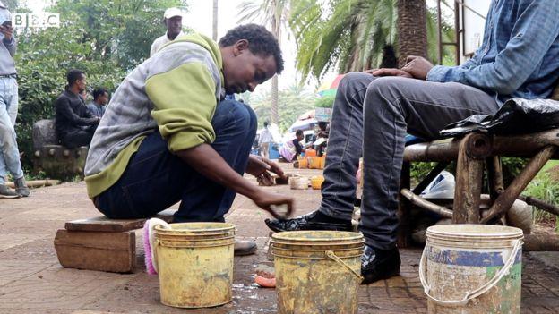 Chekol Menberu is a shoe-shiner in Ethiopia