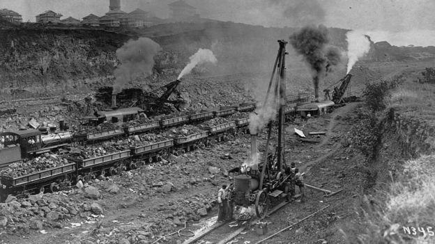 Construcción del Canal de Panamá en 1907.