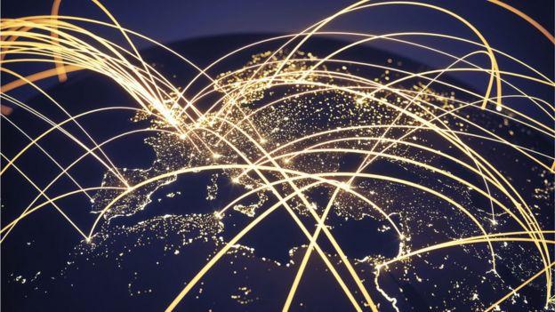 Mapa do mundo com conexões