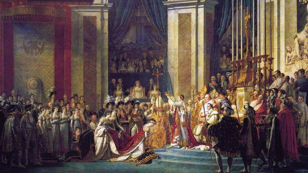 Pintura 'Coroação de Napoleão', do artista francês Jacques-Louis David, de 1807, retratando a cerimônia na Catedral de Notre Dame