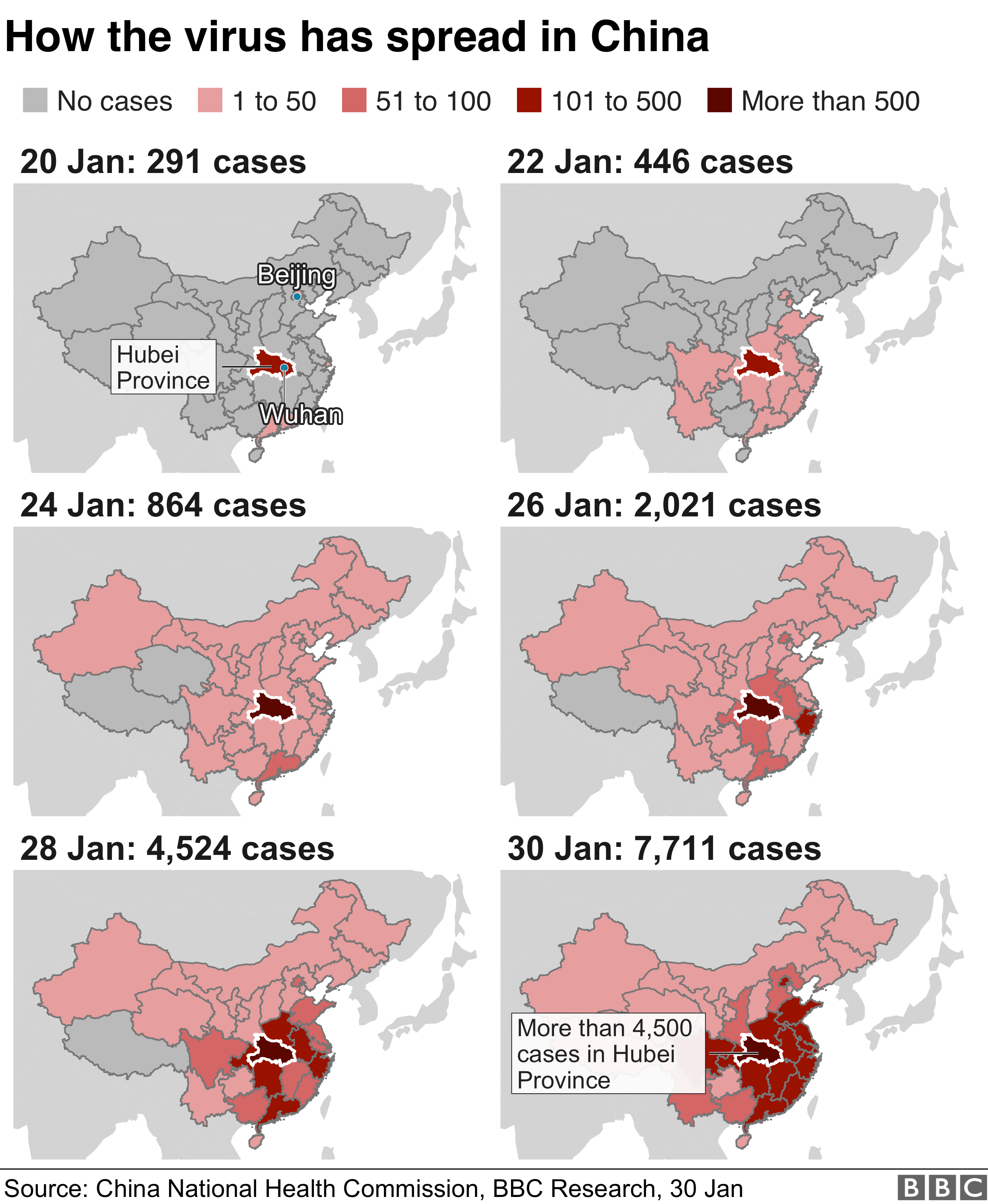 Maps showing the rise in the number of coronavirus virus cases in China