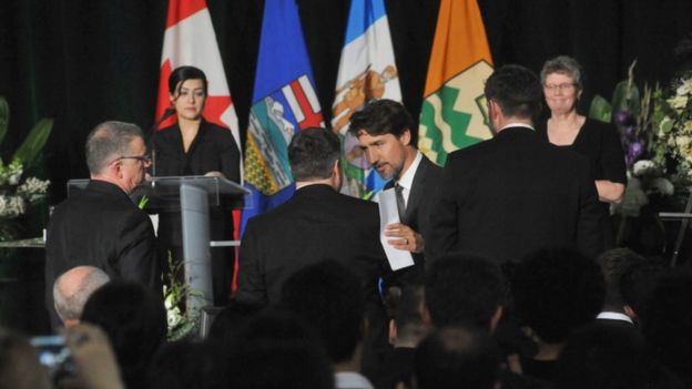 Justin Trudeau at a memorial service for the victims Ukrainian Airlines flight PS752 crash in Iran