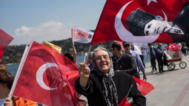 People march along the Bosphorus shoreline in support of the 'Hayir' (No) vote ahead of Turkey's constitutional referendum, 15 April 2017