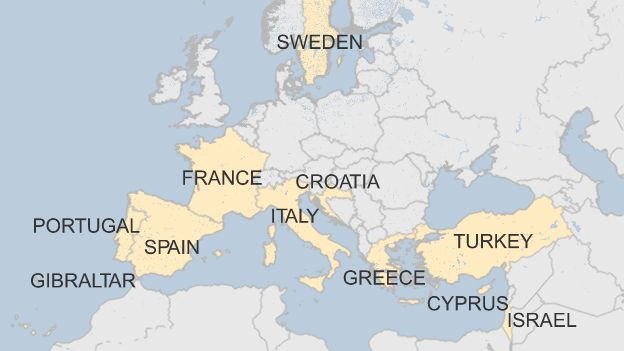 Map of where Monarch holidaymakers