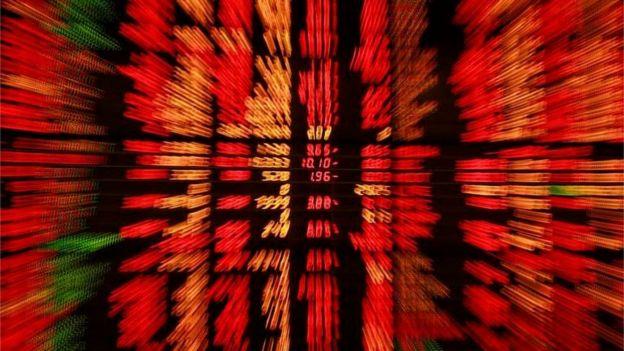 Tela de ações em uma bolsa de valores