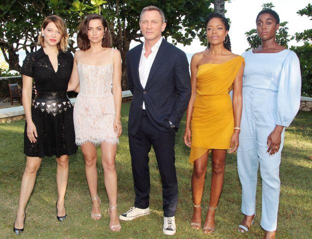 Lea Seydoux, Ana de Armas, Daniel Craig, Naomie Harris and Lashana Lynch at Bond 25 launch