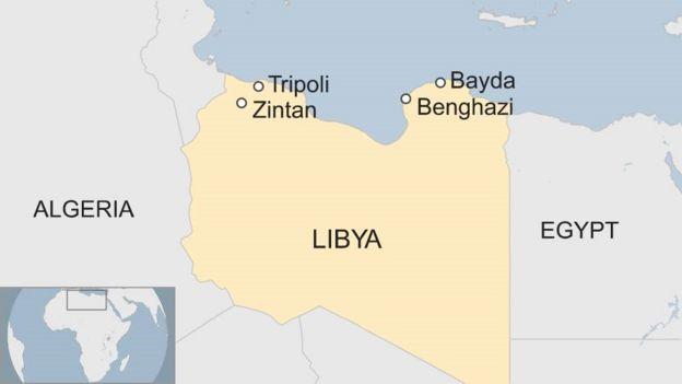 A map showing Libya