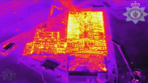 drone thermal image camera footage of the fire at Gateway to Wales Hotel