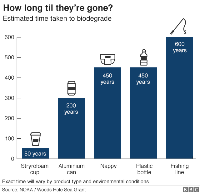 A graph shows how long it takes for plastic to break down - 50 years for a coffee cup, 200 for an aluminium can, 450 years for a nappy or plastic bottle, and 600 years for fishing line.