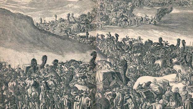 لوحة لموكب مانسا موسى، حاكم امبراطورية مالي في أفريقيا، إلى أداء مناسك الحج في مكة