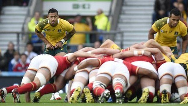 Wales have a scrum