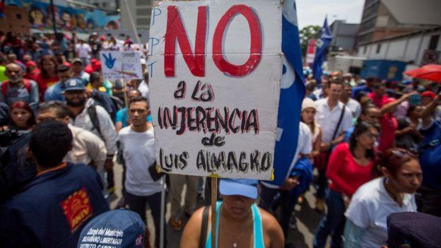 Protestas en contra de la OEA en Venezuela.