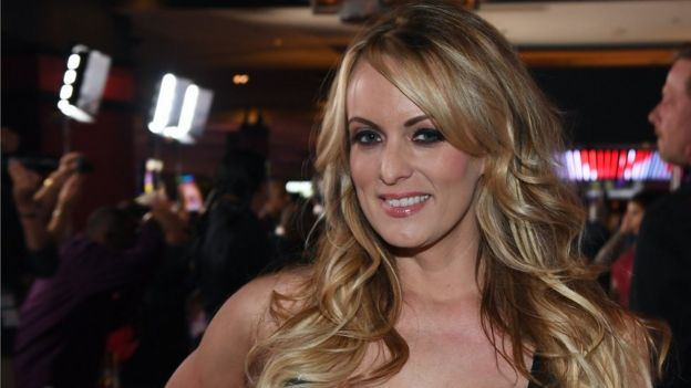 Stormy Daniels attends the 2018 Adult Video News Awards in Las Vegas on 27 January 2018