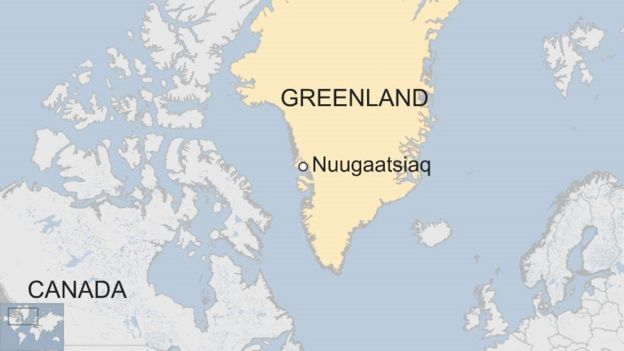 A map showing where the village is in Greenland