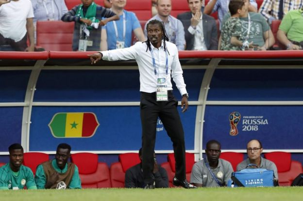 Coach Aliou Cisse of Senegal during the 2018 FIFA World Cup Russia group H match between Poland and Senegal at the Otkrytiye Arena on June 19, 2018 in Moscow, Russia.