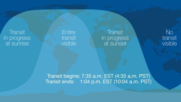 Mapa de dónde será visible el tránsito