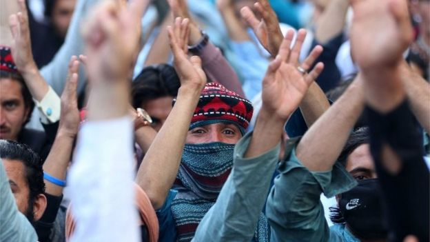 Supporters of Pashtun Tahaffuz Movement (PTM) shout slogans during a protest against the arrest of one of their leader Alamzeb Mehsud in Karachi, Pakistan, 23 January 2019.