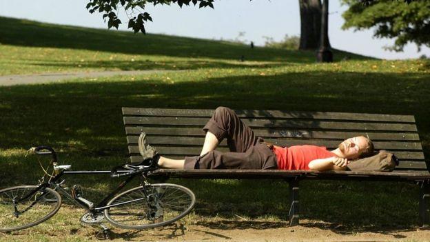 Persona durmiendo en un parque