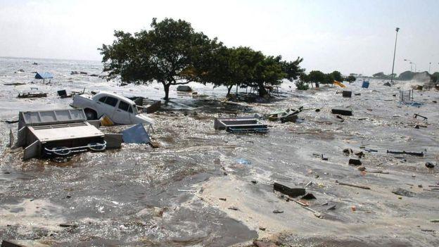 Imagen de casas y otros arrastrados por un tsunami