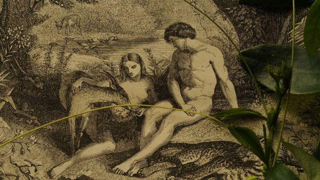 Grabado de Adán y Eva