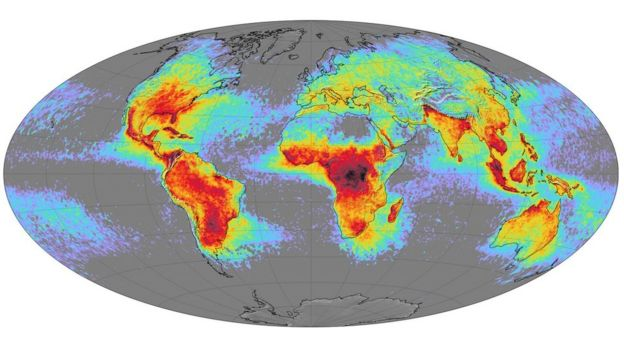 A map of the world showing the frequency of lightning strikes - most common in central Africa, South America and south Asia