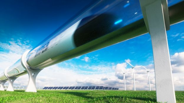 Disaeño digital de un tren rodeado de energía limpia.