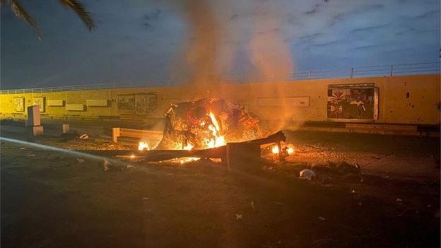 A burning vehicle near Baghdad International Airport, Iraq
