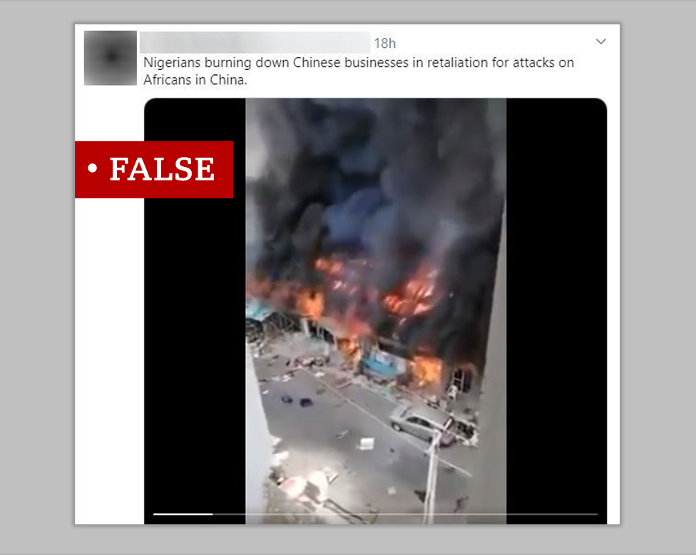 False branding on picture of fire in Nigeria