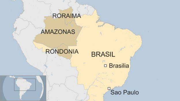 Mapa de los estados brasileños de Roraima, Amazonas y Rondonia.