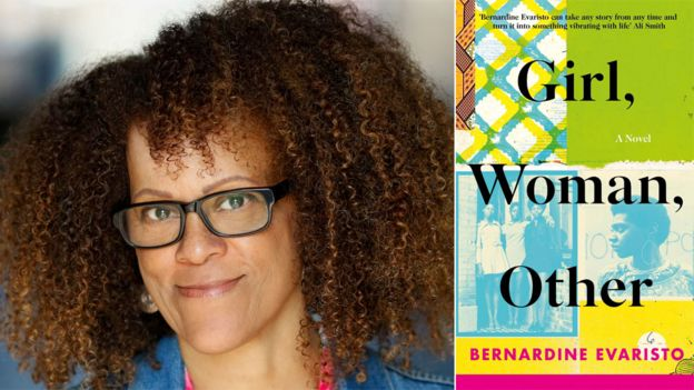 Bernardine Evaristo and the book jacket for Girl, Woman, Other