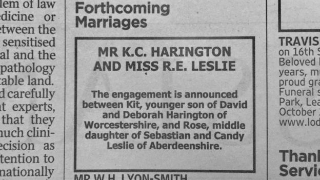 Image showing the Times engagement announcement of Kit Harington and Rose Leslie
