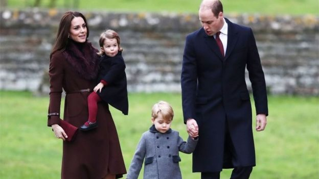 Duke and Duchess of Cambridge with Prince George Princess Charlotte
