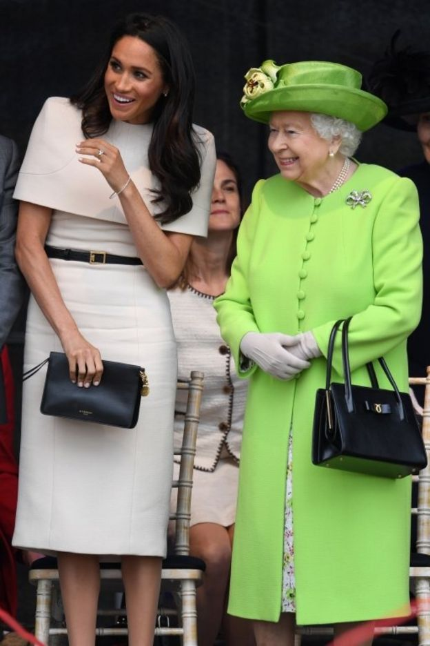 The Queen and Duchess of Sussex during a ceremony to open the new Mersey Gateway Bridge