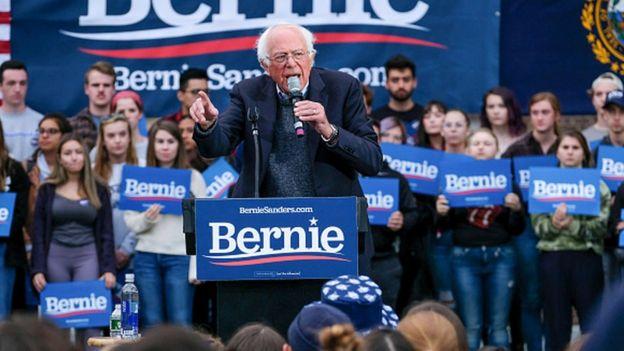 Senador de Vermont Bernie Sanders na Universidade de New Hampshire