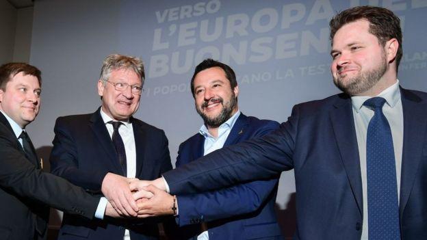 Finler Partisi lideri Olli Kotro, Almanya'dan AfD lideri Joerg Meuthen, İtalya Lig Partisi lideri ve Başbakan Yardımcısı ve İçişleri Bakanı Matteo Salvini ve Danimarka Halk Partisi 'nden Anders Primdahl Vistisen 8 Nisan'da Milano'da bir araya geldi.