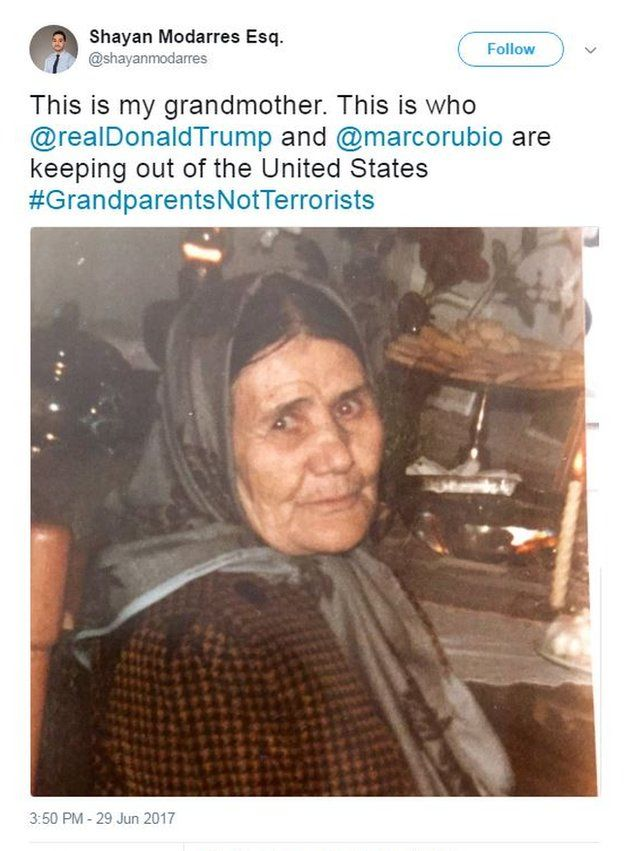 """Shayan Modarres Esq. tweets a photo of his grandmother with the caption: """"This is my grandmother. This is who @realDonaldTrump and @marcorubio are keeping out of the United States #GrandparentsNotTerrorists""""."""