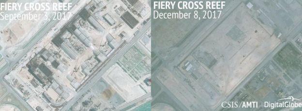 2017年,永暑島上的軍事設施建設迅速,挖掘出來地下設施短短幾個月內就全部完工,並被掩埋。