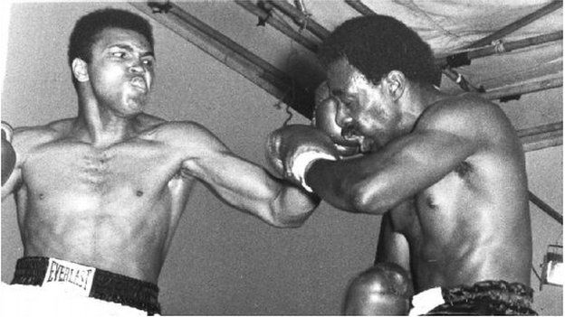 Muhammad Ali in action against Al 'Blue' Lewis during their Croke Park bout