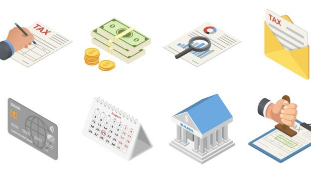 Conjunto de ilustrações que remetem ao orçamento governamental: pilhas de dinheiro, relatórios, agência bancária, cartão de crédito...