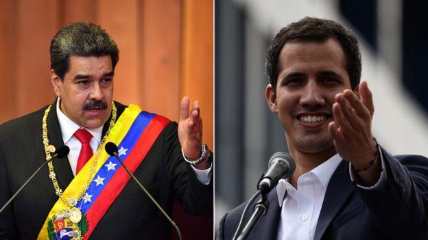 Nicolás Maduro (trái) và Juan Guaidó