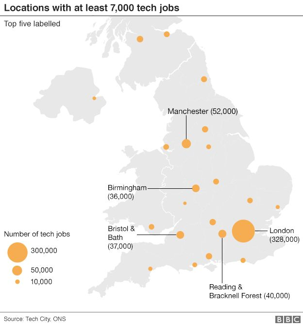 Areas with at least 7,000 tech jobs