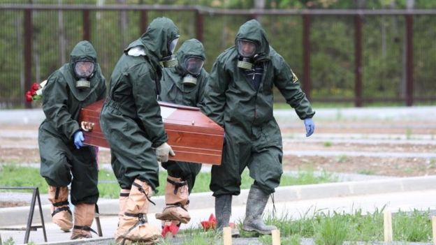 People carry coffin wearing protective clothing in Russia