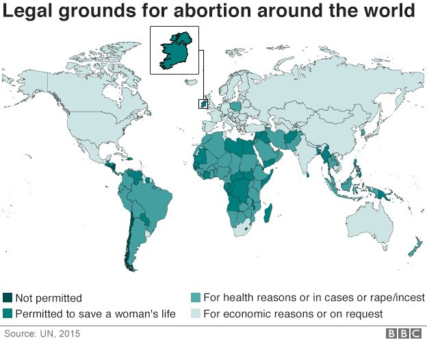 Map illustrating access to abortions