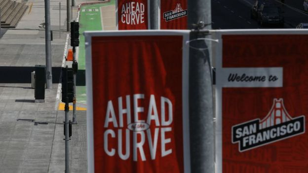 """San Francisco street banners say it is """"ahead of the curve"""""""
